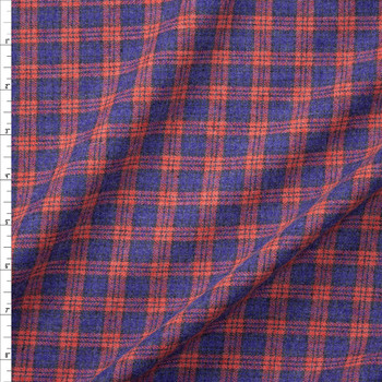 Orange and Blue Plaid Cotton Flannel Fabric By The Yard