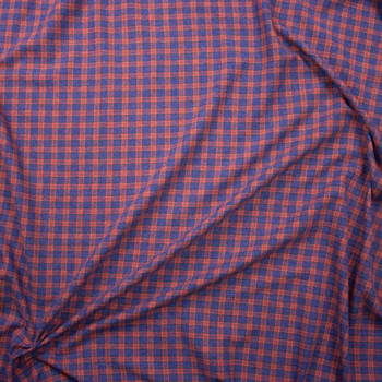 Orange and Blue Plaid Cotton Flannel Fabric By The Yard - Wide shot