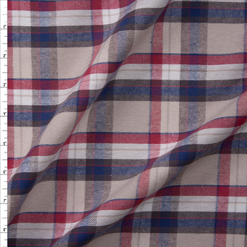 Red, White, Grey, and Blue Plaid Cotton Flannel Fabric By The Yard