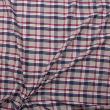 Red, White, Grey, and Blue Plaid Cotton Flannel Fabric By The Yard - Wide shot