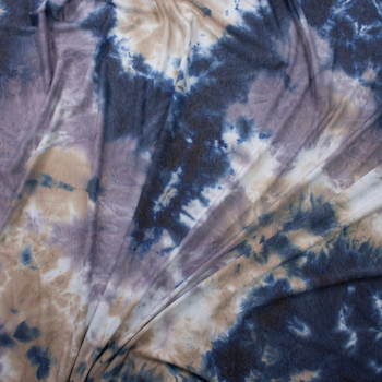 Navy, Dusty Lilac, and Tan Tie Dye Rayon French Terry Fabric By The Yard - Wide shot