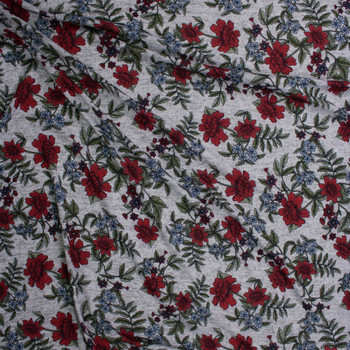 Burgundy, Sage, and Blue Floral on Heather Grey Brushed Hacci Knit Fabric By The Yard - Wide shot