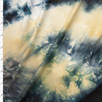Midnight and Tan Tie Dye Double Brushed Poly Spandex Knit Fabric By The Yard