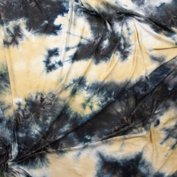 Midnight and Tan Tie Dye Double Brushed Poly Spandex Knit Fabric By The Yard - Wide shot