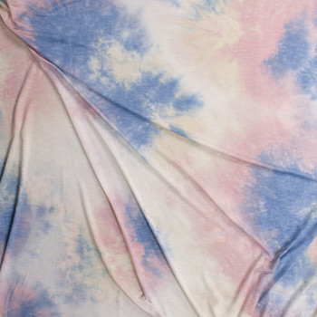 Baby Pink, Blue, and Ivory Tie Dye Rayon Stretch Jersey Knit Fabric By The Yard - Wide shot