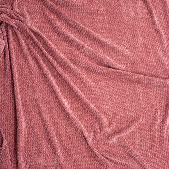 Dusty Rose Chenille Sweater Knit Fabric By The Yard - Wide shot