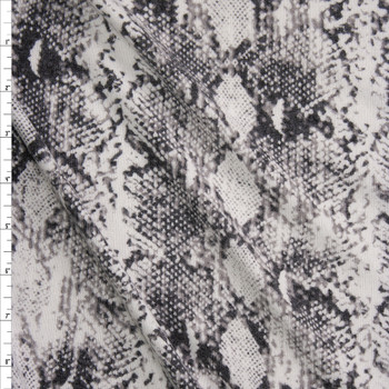 Grey and White Snakeskin Soft Brushed Sweater Knit Fabric By The Yard