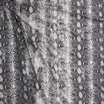 Grey and White Snakeskin Soft Brushed Sweater Knit Fabric By The Yard - Wide shot
