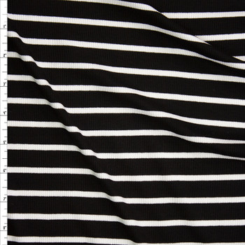 White Pencil Stripes on Black Lightweight Rib Knit Fabric By The Yard