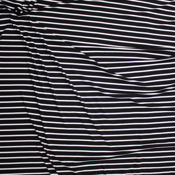 White Pencil Stripes on Black Lightweight Rib Knit Fabric By The Yard - Wide shot