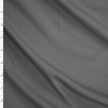 Solid Medium Grey Midweight Rib Knit Fabric By The Yard