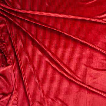 Red Corded Stretch Velvet Fabric By The Yard - Wide shot