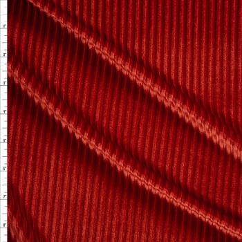 Burnt Orange Corded Stretch Velvet Fabric By The Yard