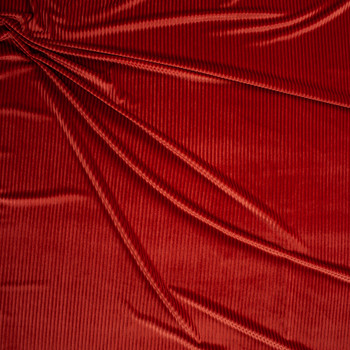 Burnt Orange Corded Stretch Velvet Fabric By The Yard - Wide shot