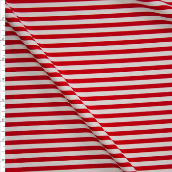 Red and White Stripe Designer Nylon/Spandex Fabric By The Yard