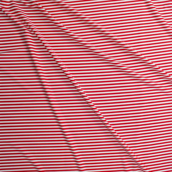 Red and White Stripe Designer Nylon/Spandex Fabric By The Yard - Wide shot