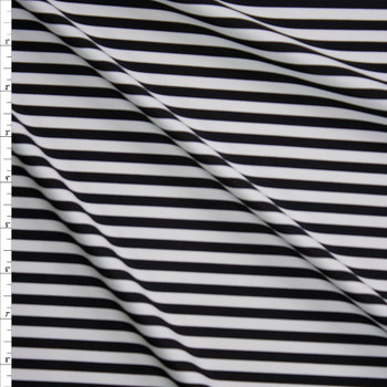 Black and White Stripe Designer Nylon/Spandex Fabric By The Yard