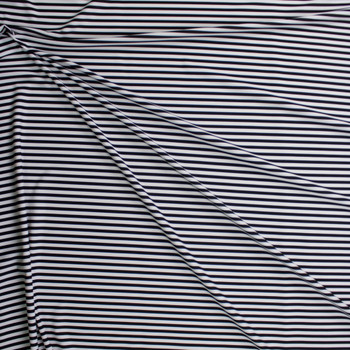 Black and White Stripe Designer Nylon/Spandex Fabric By The Yard - Wide shot