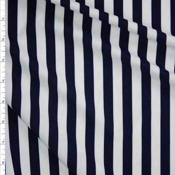 Navy and White Designer Nylon/Spandex Fabric By The Yard