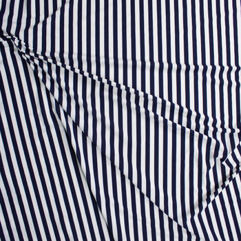 Navy and White Designer Nylon/Spandex Fabric By The Yard - Wide shot