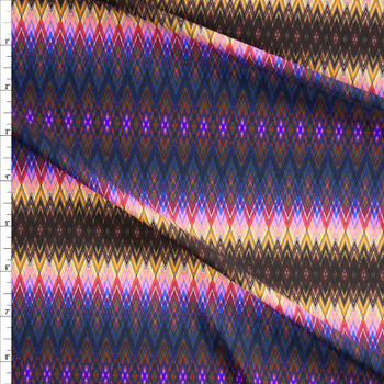 Purple, Teal, Tan, and Brown Geometric Ombre Stripe Designer Nylon/Spandex Fabric By The Yard