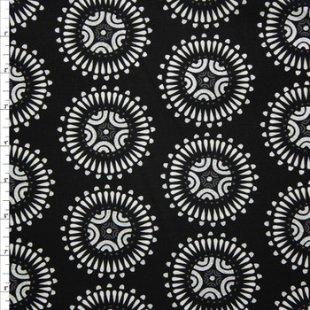 Via Metallic Silver and White Medallion Quilter's Cotton Print from Boundless Fabrics Fabric By The Yard