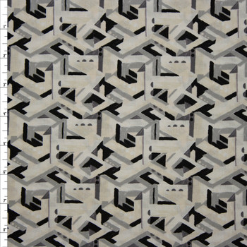 Via Geometric Brushstroke Ivory and Grey Quilter's Cotton Print from Boundless Fabrics Fabric By The Yard