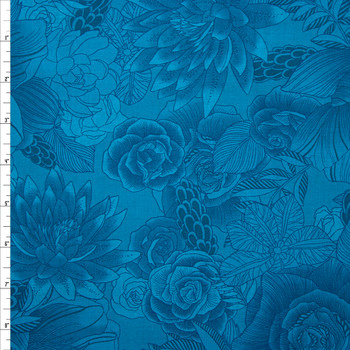 Blenders Botanical Teal Quilter's Cotton Print from Boundless Fabrics Fabric By The Yard