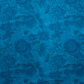 Blenders Botanical Teal Quilter's Cotton Print from Boundless Fabrics Fabric By The Yard - Wide shot