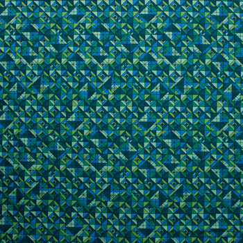 Rhapsody Geometric Emerald and Teal Quilter's Cotton Print from Boundless Fabrics Fabric By The Yard - Wide shot