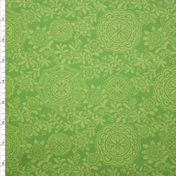 Rhapsody Medallion Lime Quilter's Cotton Print from Boundless Fabrics Fabric By The Yard