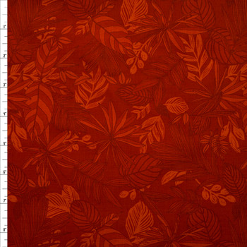 Blenders Collage Rust Tropical Floral Quilter's Cotton Print from Boundless Fabrics Fabric By The Yard
