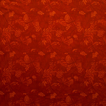 Blenders Collage Rust Tropical Floral Quilter's Cotton Print from Boundless Fabrics Fabric By The Yard - Wide shot