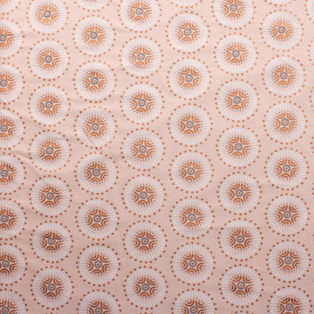 Via Metallic Copper and Blush Medallions Quilter's Cotton Print from Boundless Fabrics Fabric By The Yard - Wide shot