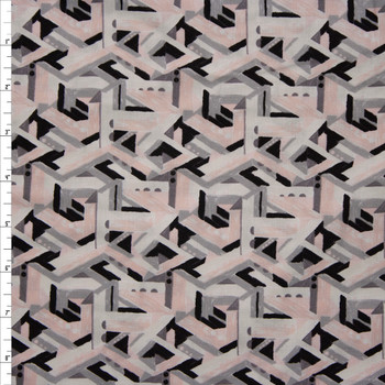 Via Geometric Brushstroke Blush and Grey Quilter's Cotton Print from Boundless Fabrics Fabric By The Yard