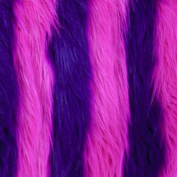 Pink/Purple Striped Shag Faux Fur