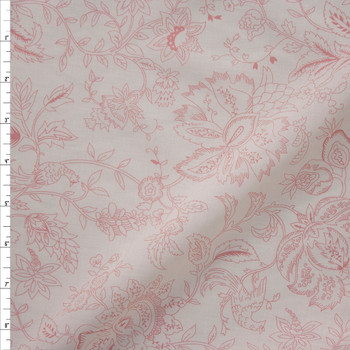Pink on Offwhite Delicate Floral Cotton Lawn Fabric By The Yard