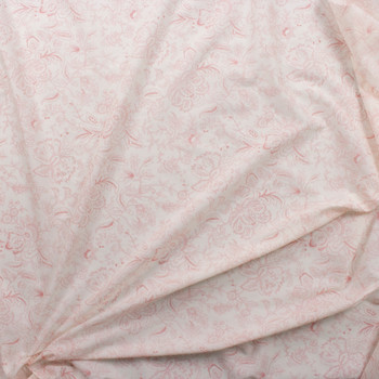 Pink on Offwhite Delicate Floral Cotton Lawn Fabric By The Yard - Wide shot