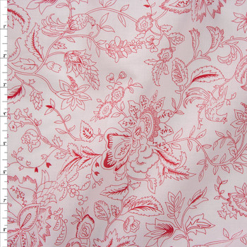 Red on White Delicate Floral Cotton Lawn Fabric By The Yard