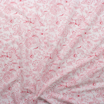 Red on White Delicate Floral Cotton Lawn Fabric By The Yard - Wide shot