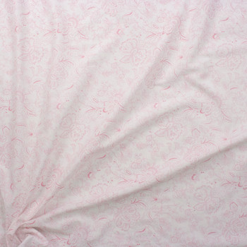 Pink on White Delicate Floral Cotton Poplin Fabric By The Yard - Wide shot