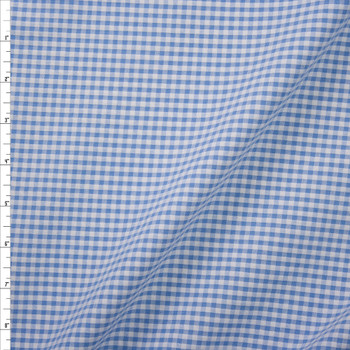 "Sky Blue and White 1/8"" Gingham Seersucker Fabric By The Yard"