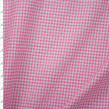 "Hot Pink and White 1/8"" Gingham Seersucker Fabric By The Yard"