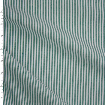 "Emerald Green and White 1/8"" Stripe Seersucker Fabric By The Yard"