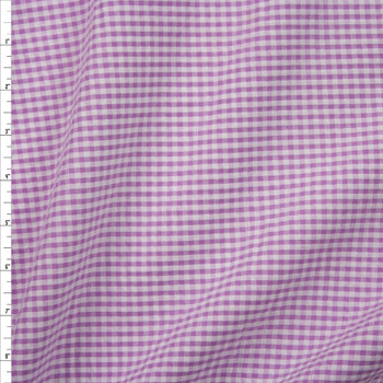 """Lavender and White 1/8"""" Gingham Seersucker Fabric By The Yard"""