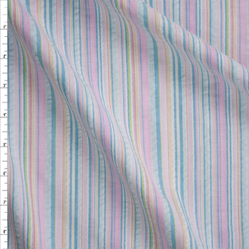 Baby Pink, Aqua, and Yellow Barcode Stripe Seersucker Fabric By The Yard