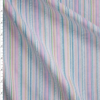 Baby Pink, Aqua, and Yellow Barcode Stripe Seersucker Fabric By The Yard