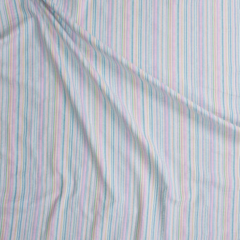 Baby Pink, Aqua, and Yellow Barcode Stripe Seersucker Fabric By The Yard - Wide shot