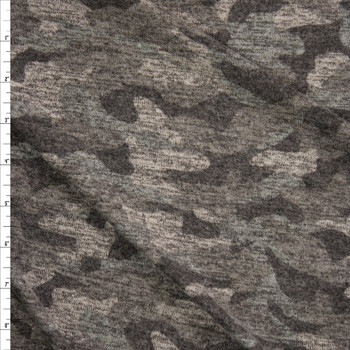 Olive Heather Camouflage Brushed Sweater Knit Fabric By The Yard