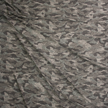 Olive Heather Camouflage Brushed Sweater Knit Fabric By The Yard - Wide shot